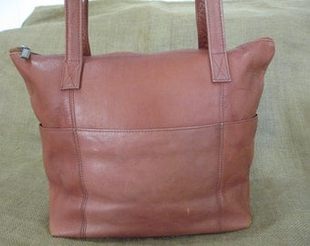Vintage genuine medium natural tan leather shopping tote bag Colombia book bag