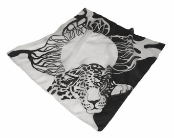 "Hand painted silk square scarf ""Day and night"" White and black. Batik. Made to order."