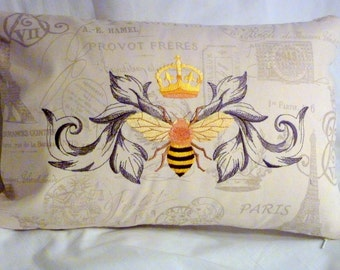 Embroidered Queen Bee Pillow cover - Premier Prints French Stamp - Queen Bee - Embroidered pillow cover- Paris pillow - French Country