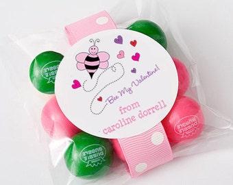 Bee My Valentine Stickers, Valentines Stickers, Personalized Valentines Stickers , Valentines Labels, Labels for Valentines Day