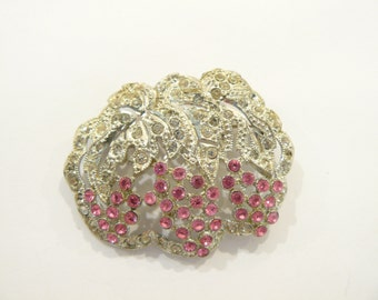 Beautiful Vtg Art Deco Pink Rhinestone Figural Grape Vine Brooch / Pin