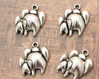 10 Mom and Baby Elephants Charms/Pendants Antiqued Silver  13mm x 15mm