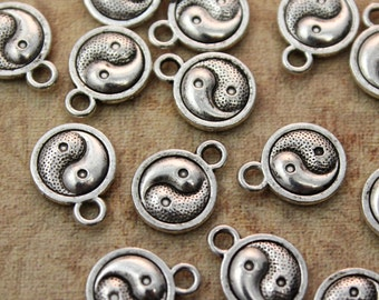 10 Tai Chi Trigrams Charms Yin Yang Pendants Antiqued Silver Double Sided 10 mm