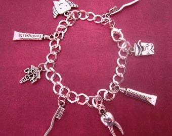 Dental Hygiene Charm Bracelet Silver DIY