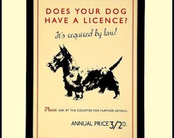 Dog Licence Poster  -  1931  Print
