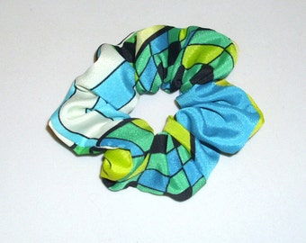 Scrunchie, Glenda Kelly Lime Abstract Print,  MU 002