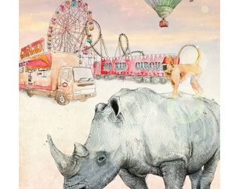 Later, Circus   A4 prints   Alykat Creative Escape from the Circus series   Hot air balloon