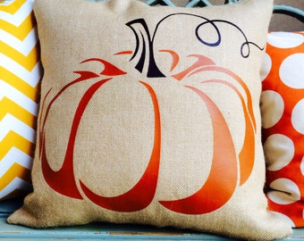 FALL DECOR- waxed burlap pumpkin slipcover and insert with burnt orange and brown curly stem