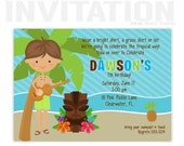luau invitations, Birthday Party Invitations, personalized thank you cards, birthday invitations, party invitations / No.81