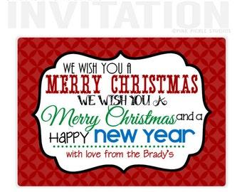 Christmas Birthday Party Invitations, personalized thank you cards, birthday invitations, party invitations / No.105