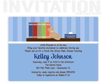 BABY BOOKS Blue Boy Birthday Party Invitations, personalized thank you cards, birthday invitations, party invitations / No.168