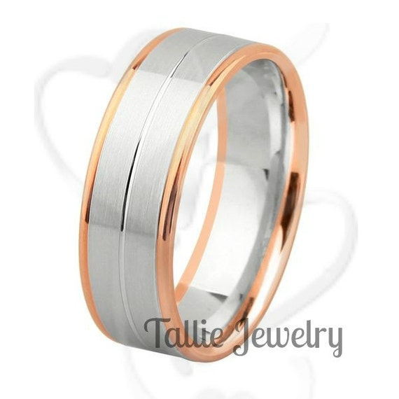 Mens 10K White And Rose Gold Wedding Band Ring By TallieJewelry