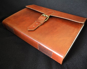 Large Handmade Journal, Sketchbook, Diary - Brass Buckle Fastening - Pages of Cartridge Paper - Freepost UK