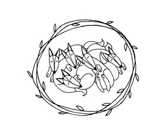Sleeping Foxes Hand Embroidery Pattern Printable Woodland Animal Digital Downloadable Download 0036