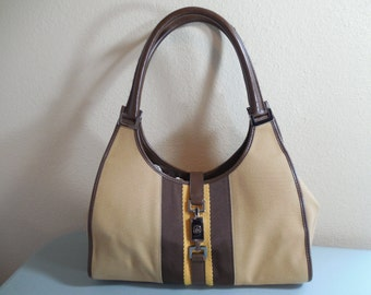 Vintage Gucci Bardot Purse Handbag Tan Beige Camel and Brown Leather Brown and Gold Trim Gun Metal Gucci Signature Hardware Gucci Dust Cover