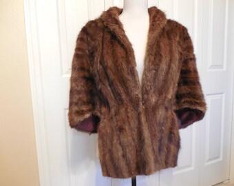 Vintage J. Feldman & Bro. Fine Furs Niagara Falls NY Dark Brown Mahogany Faux Mink Fur Stole Cape Wrap Capelet Genuine Natural Muskrat Fur
