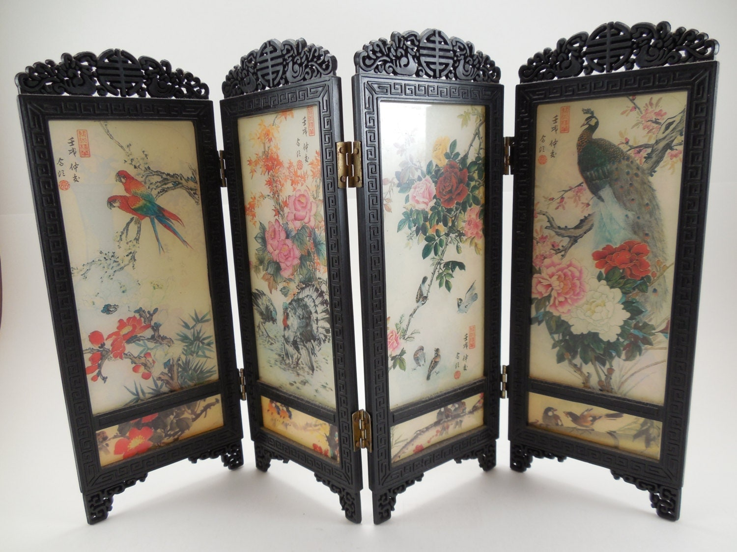 r serv aux japonais mini paravent paons fleurs oiseaux. Black Bedroom Furniture Sets. Home Design Ideas