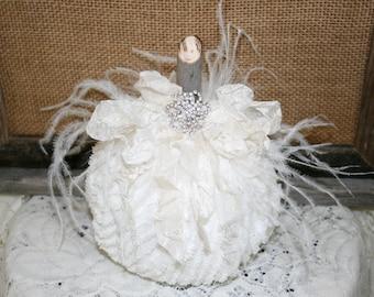 Shabby Chic White Chenille Pumpkin, Fabric Pumpkin, Fall Decor, Vintage Chenille Pumpkin