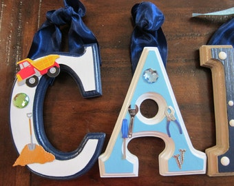 "TOOLTheme for Nursery Room - 6 x 4"" Letters-  Boys Hanging Wall Letters to Match Your Theme"
