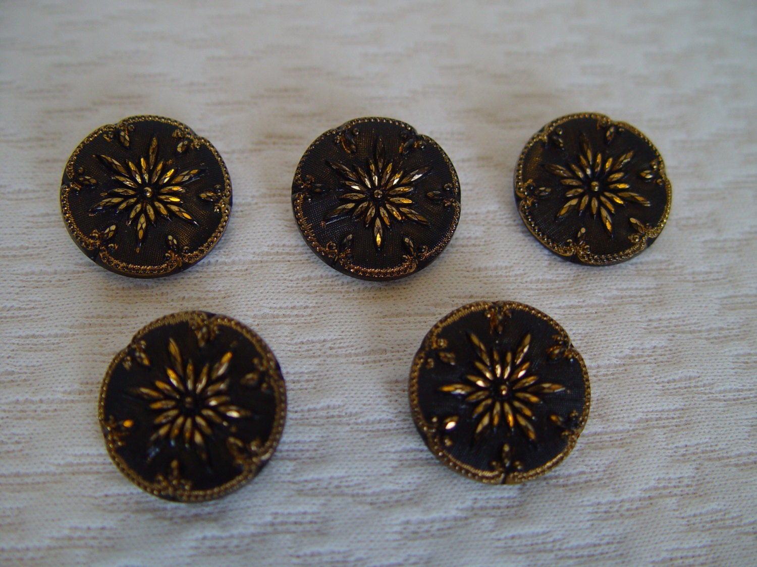 5 vintage buttons black and gold sewing supplies vintage