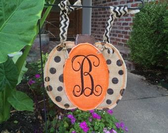 Custom Burlap Fall/Thanksgiving 3D Pumpkin Garden Flag.