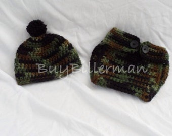 Crocheted camo baby prop - fast shipping