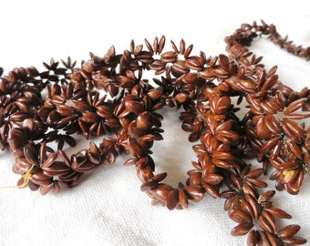 Vintage Natural Brown Seed Necklace, Native, Organic, Island, Tropical