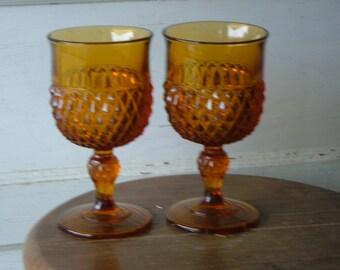 1970's Amber Cut Glass Goblets