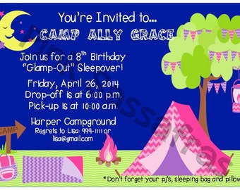 "Girl ""Glamp-Out"" Birthday Invitation"