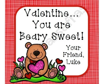 You are Beary Sweet Valentine Favor Tags