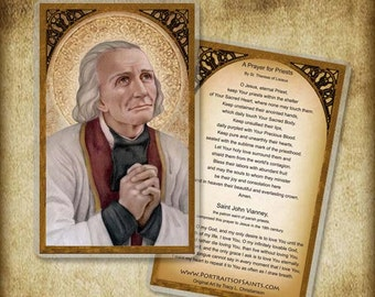 St. John Vianney Holy Card or Wood Magnet  #0114