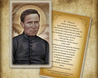 St. Damien of Molokai Holy Card or Wood Magnet  #0071