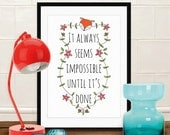 """Quote artwork print: """"It always seems impossible until it's done"""" inspirational art print, quote art, wall art, quote print, fox print"""