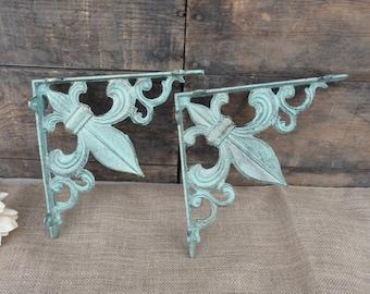 Set of 2 FLEUR DI LIS Brackets - Aqua/Turquoise & Gold Accents - Cast Iron Shelf Brackets - Tuscan Old World Rustic - Wall - Corner Trims