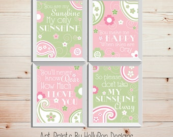 Pink green Girl art prints Baby art You are my sunshine Baby girl prints Girl art prints Baby girl nursery Playroom wall art Girl quotes