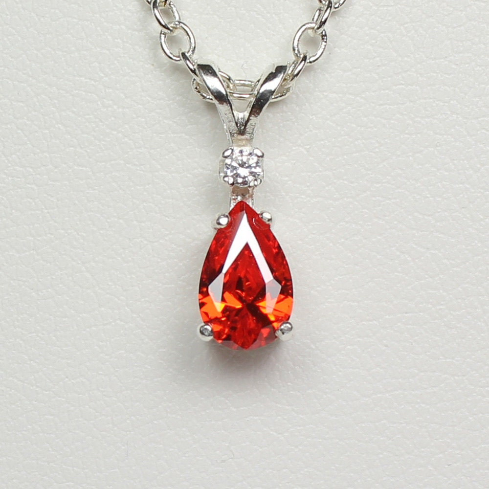 Mexican Fire Opal Necklace / Pendant Sterling Silver
