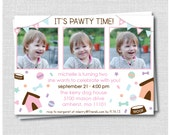 Custom Puppy Confetti Birthday Photo Invitation - Girl Puppy Birthday Party - Digital Design or Printed Invitations