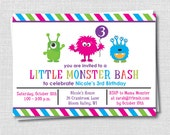Girl Monster Birthday Invitation - Monster Theme Party - Digital Design or Printed Invitations - FREE SHIPPING