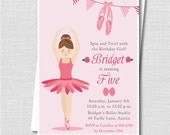 Little Ballerina Birthday Party Invitation - Ballerina Theme Birthday - Digital Design or Printed Invitations - FREE SHIPPING