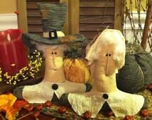 Set of Two Handmade Primitive Thanksgiving Pilgrims