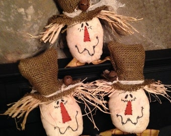 Fall Primitive Scarecrows Set of 3 Tucks, Ornie, Bowl FIllers, Pokes, Handmade