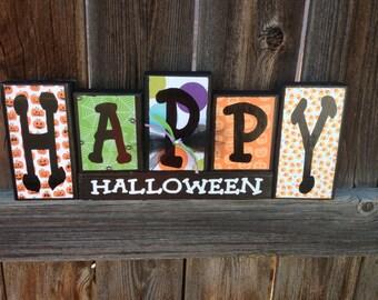 Happy Halloween wood blocks