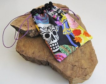 Dia de los Muertos Drawstring Pouch with Hand Crocheted Lace, Neck Pouch, Ancestors Pouch, Day of the Dead Trinket Bag