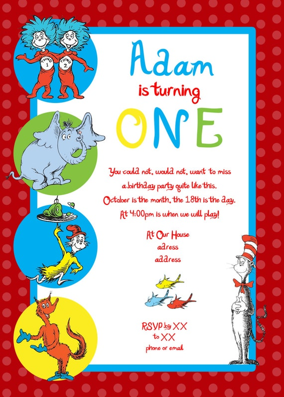 items similar to dr seuss first birthday party invitation on etsy, custom dr seuss birthday party invitations, dr seuss 1st birthday party invitations, dr seuss birthday invitation ideas