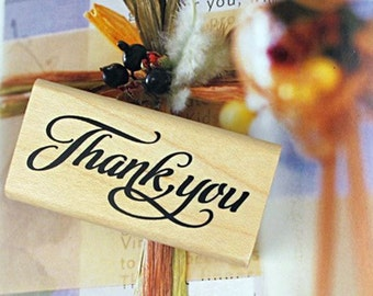Wood Rubber Thank you Stamp for Craft / Card Making - Lower case