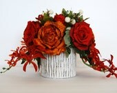 Orange and Red Roses Fall Silk Floral Arrangement