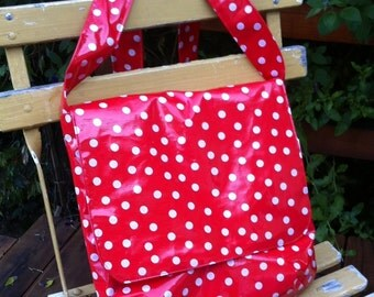 Oilcloth Messenger Bag, Red and White Polka dots