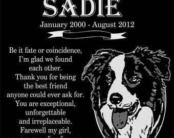 "Personalized Border Collie Pet Dog Granite Memorial 12x12 Inch Engraved Grave Marker Plaque ""Sadie"""