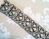 Art Deco Vintage Rhinestone bracelet, silver, signed with patent number