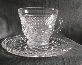 Vintage Clear Glass Wexford Cup and Saucer
